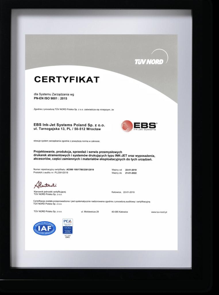 Profil firmy - certyfikat iso ramka