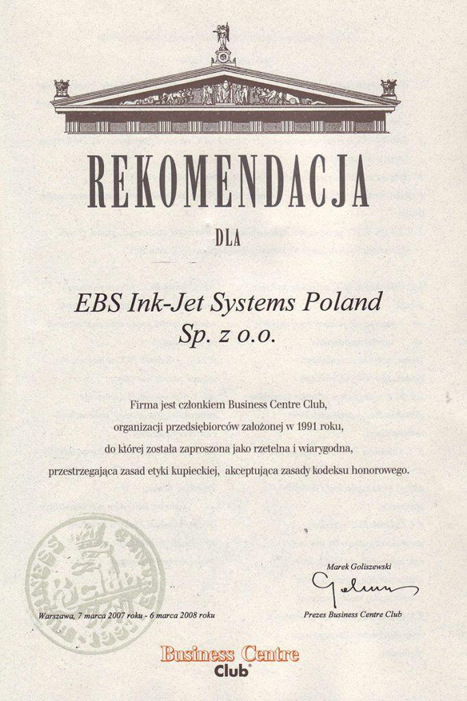Profil firmy - certyfikaty ebs 0001 Rekomendacja BCC strona 1