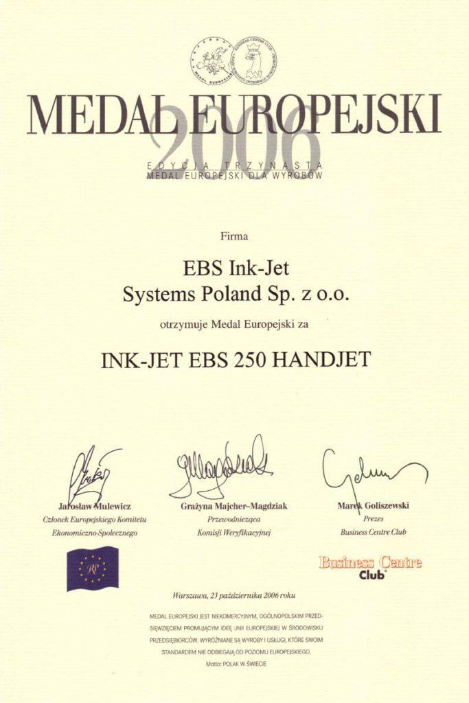 Profil firmy - certyfikaty ebs 0004 EBS 250 Medal europejski dyplom 2006 PL300dpi kolor