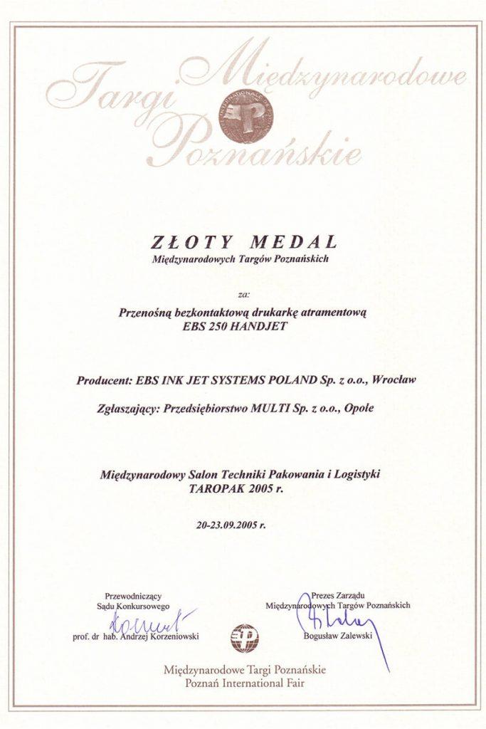 Profil firmy - certyfikaty ebs 0005 EBS 250 Dyplom medalu MTP2470x3500300dpiPL