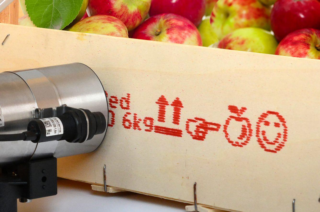 Wydruk naskrzynce zjabłkami czerwonym atramentem