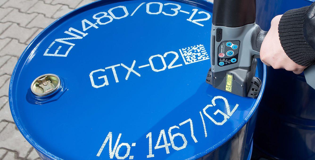 EBS-260 - EBS 260 przemyslowa drukarka reczna bialy wydruk beczka metal EBS-260