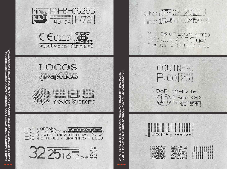 Znakowanie betonu i prefabrykatów betonowych - Handjet EBS 260 mozliwosci wydrukow na prefabrykatach betonowych